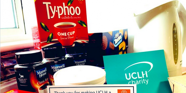 Tea and coffee pic with UCLH Charity postcard
