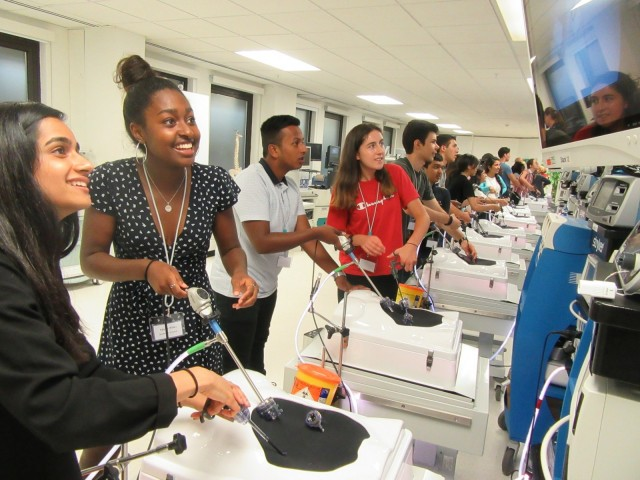 The students tested their surgical skills using the equipment required for keyhole surgery