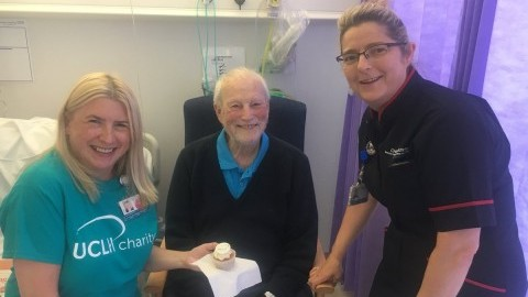 Flo Panel-Coates, Chief Nurse and Lisa Anderton, Head of Patient Experience gave out cakes for inpatients across the hospital