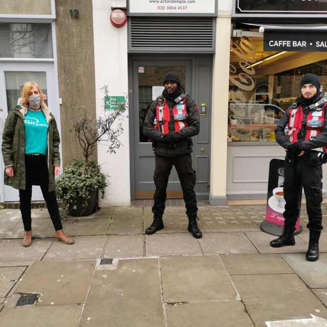 Fundraising manager Lou (left) joins delievery teams in Fitzrovia